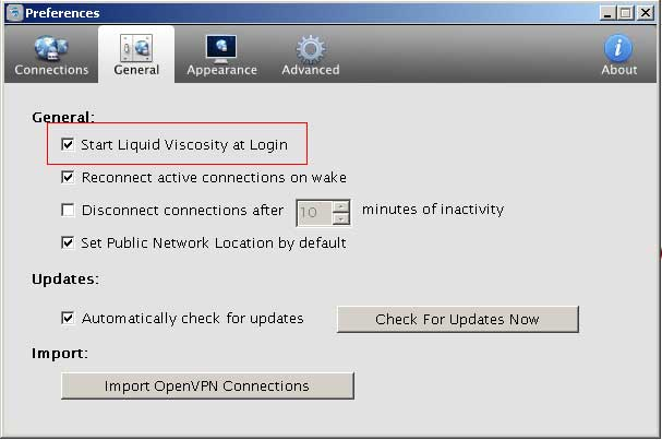 Making sure start Liquid Viscosity at Login is turned on in general tab
